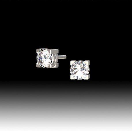Boucles d'oreilles puce diamants 4 griffes