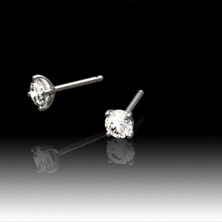 Boucles d'oreilles diamants 4 griffes rondes