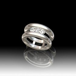 Bague jonc trilogie diamants