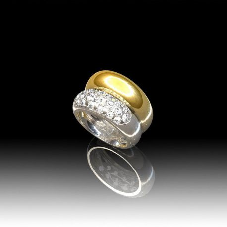 Bague jonc diamants bi-color