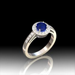 Bague saphir entourage diamants