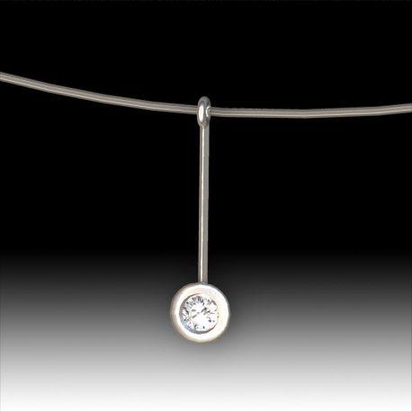 Pendentif diamant 0.10cts serti clos pendant
