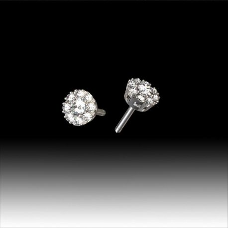 Boucles d'oreilles diamants entourage