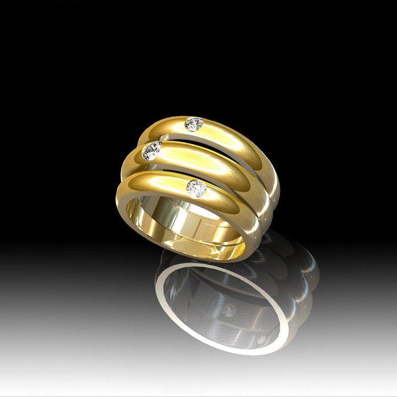 bague or diamants l 3 anneaux. Black Bedroom Furniture Sets. Home Design Ideas
