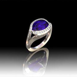 Bague pierre fine et diamants torsadés